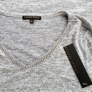 Always Indigo Heather Grey V neck Sweater